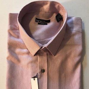 Bar III Mens Pindot Slim Fit Easy Care Dress Pink